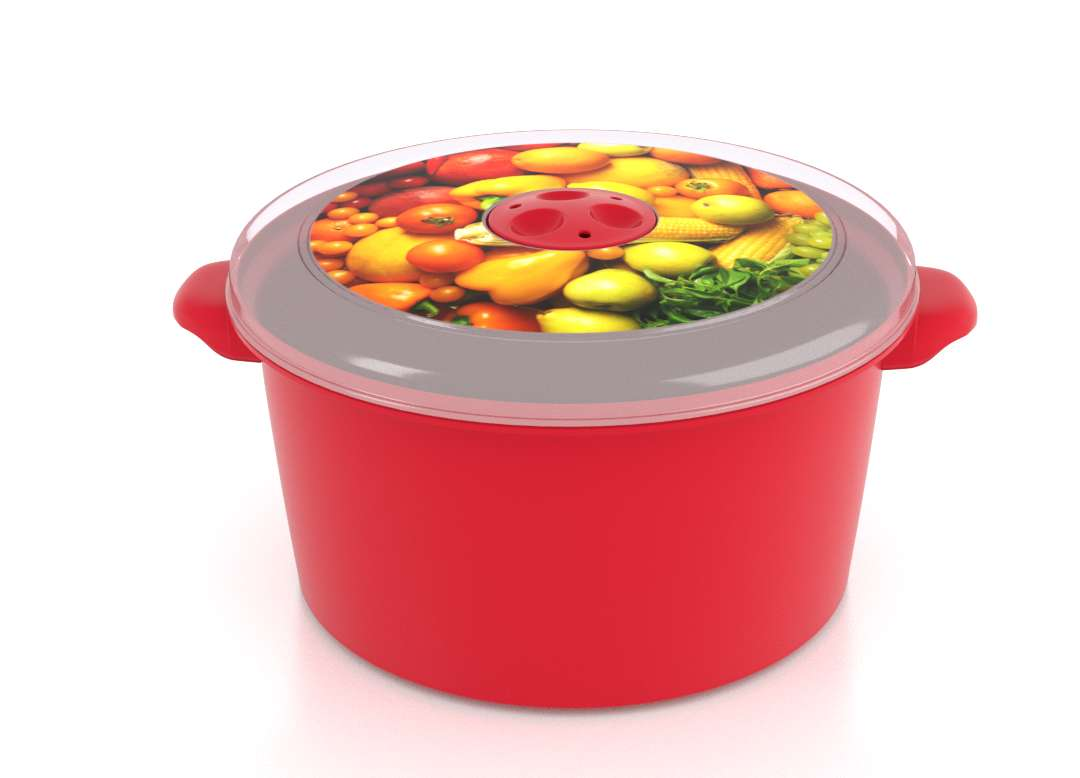 Micro Pot with Decorative Lid 3L 3302 Fruits with Steam Release Valve Bright Red