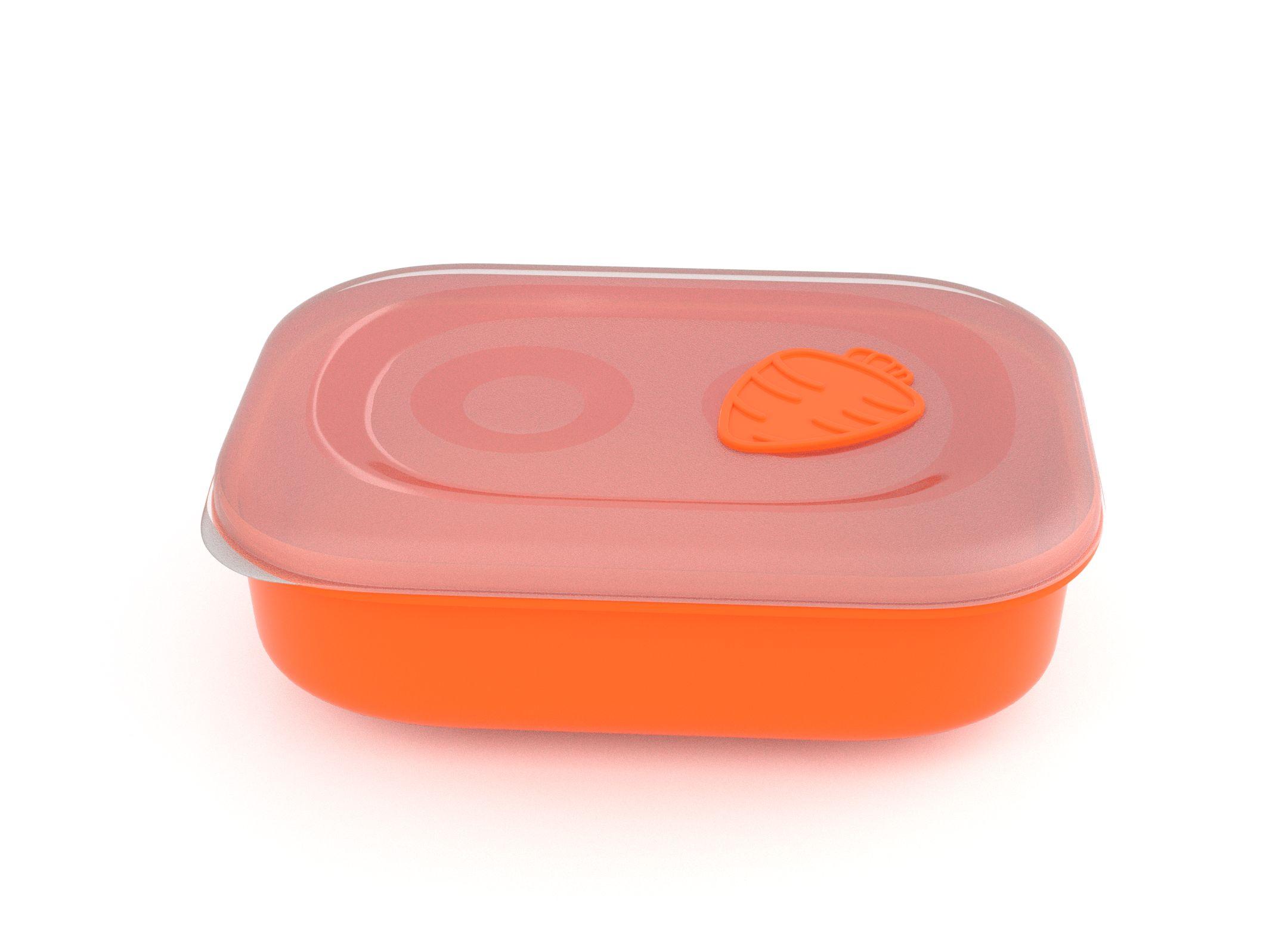 Tama Lock Rectangular Food Container 1.8l 9181 with Steam Release Carrot Valve Orange