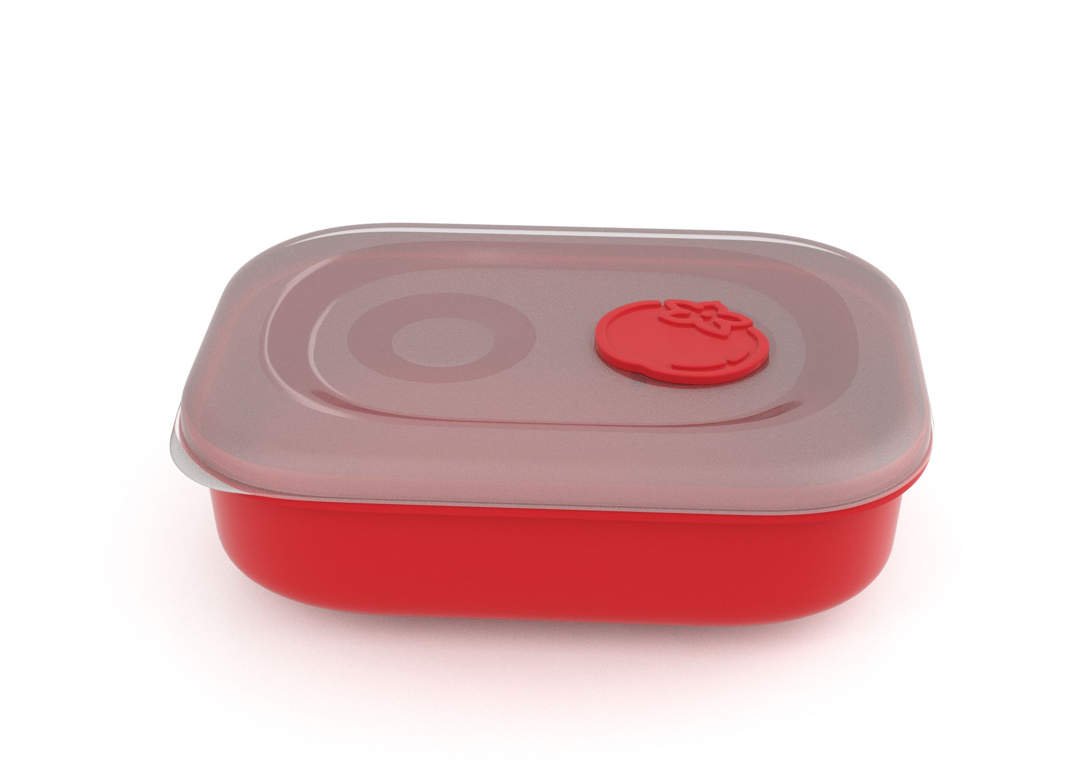 Tama Lock Rectangular Food Container 1.8L 9182 with Steam Release Tomato Valve Bright Red