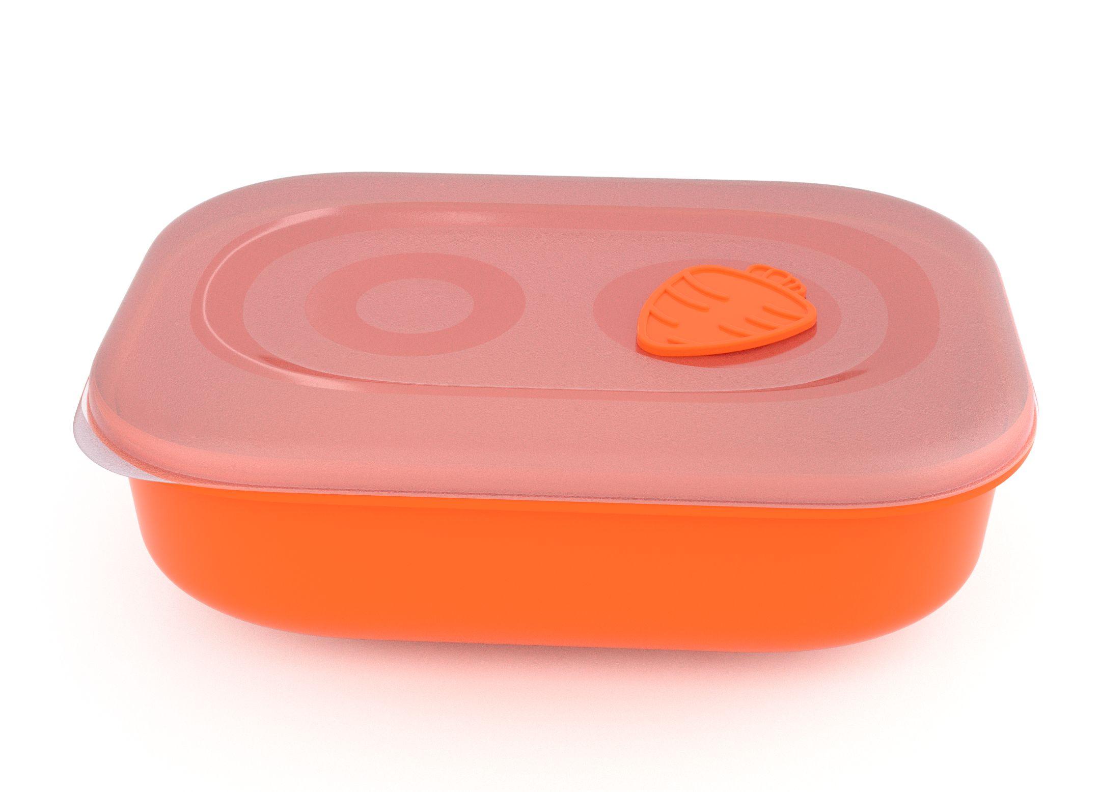 Tama Lock Rectangular Food Container 3l 9301 with Steam Release Carrot Valve Orange