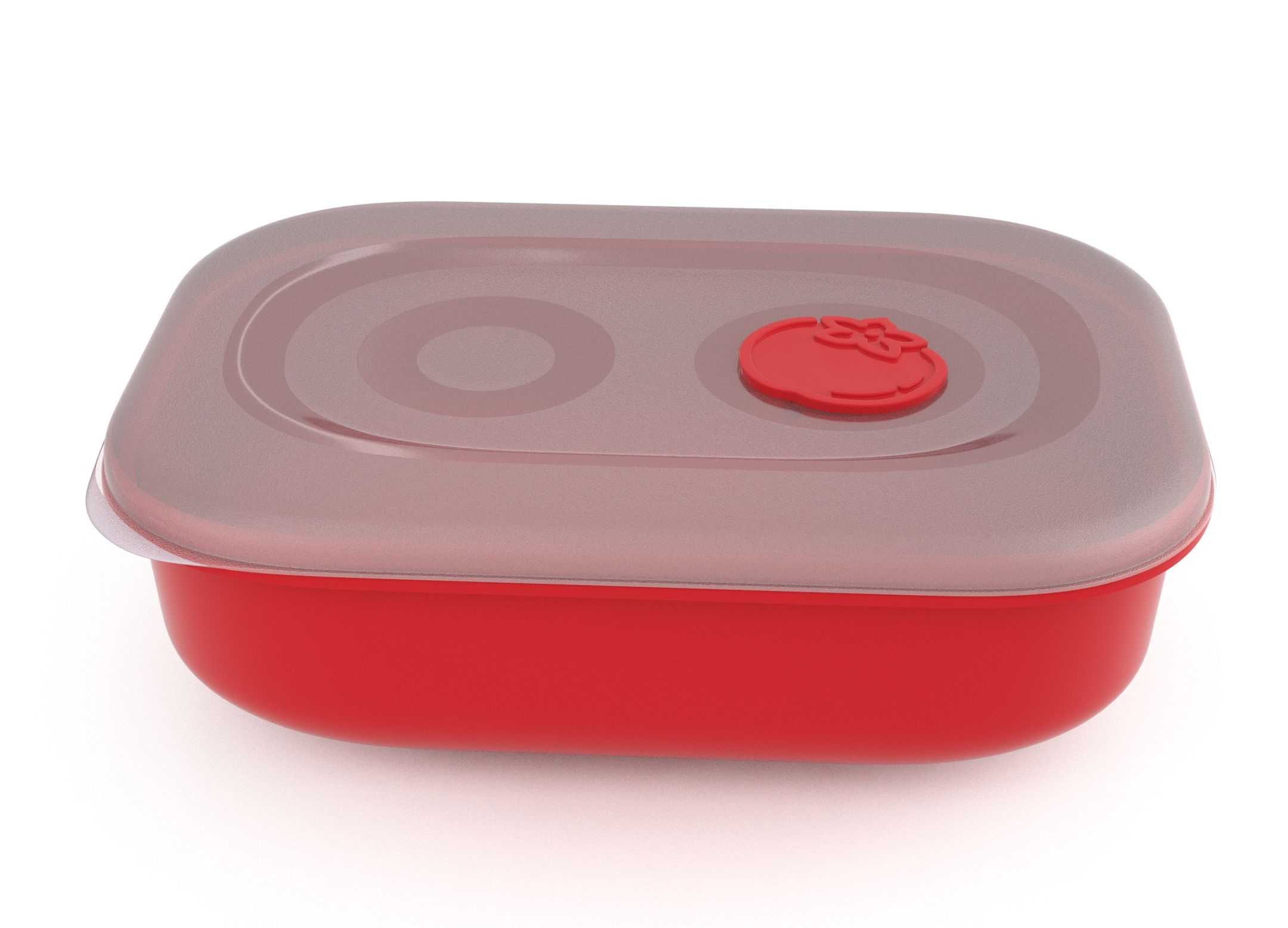 Tama Lock Rectangular Food Container 3L 9302 with Steam Release Tomato Valve Bright Red