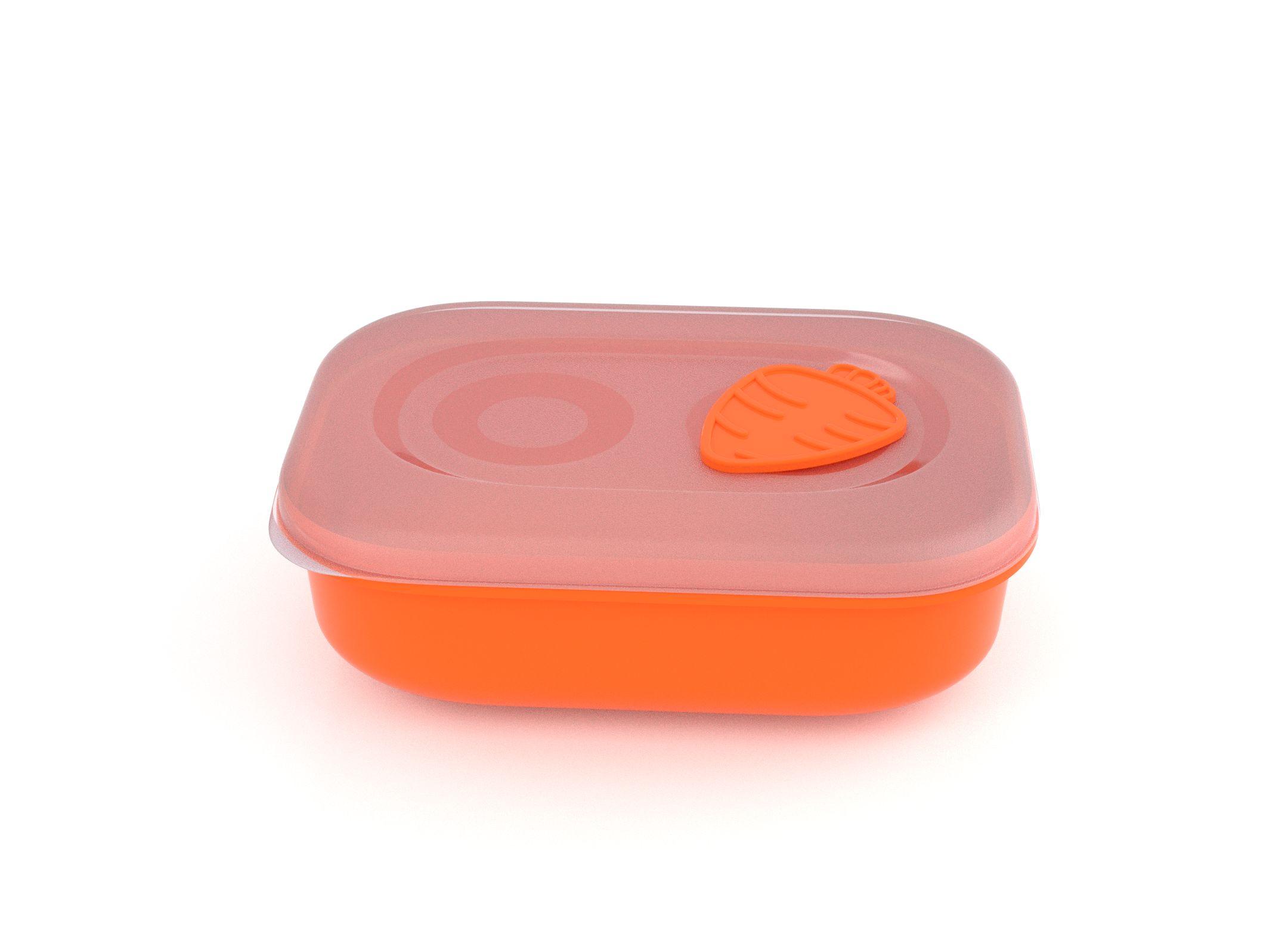 Tama Lock Rectangular Food Container 900ml 9901 with Steam Release Carrot Valve Orange