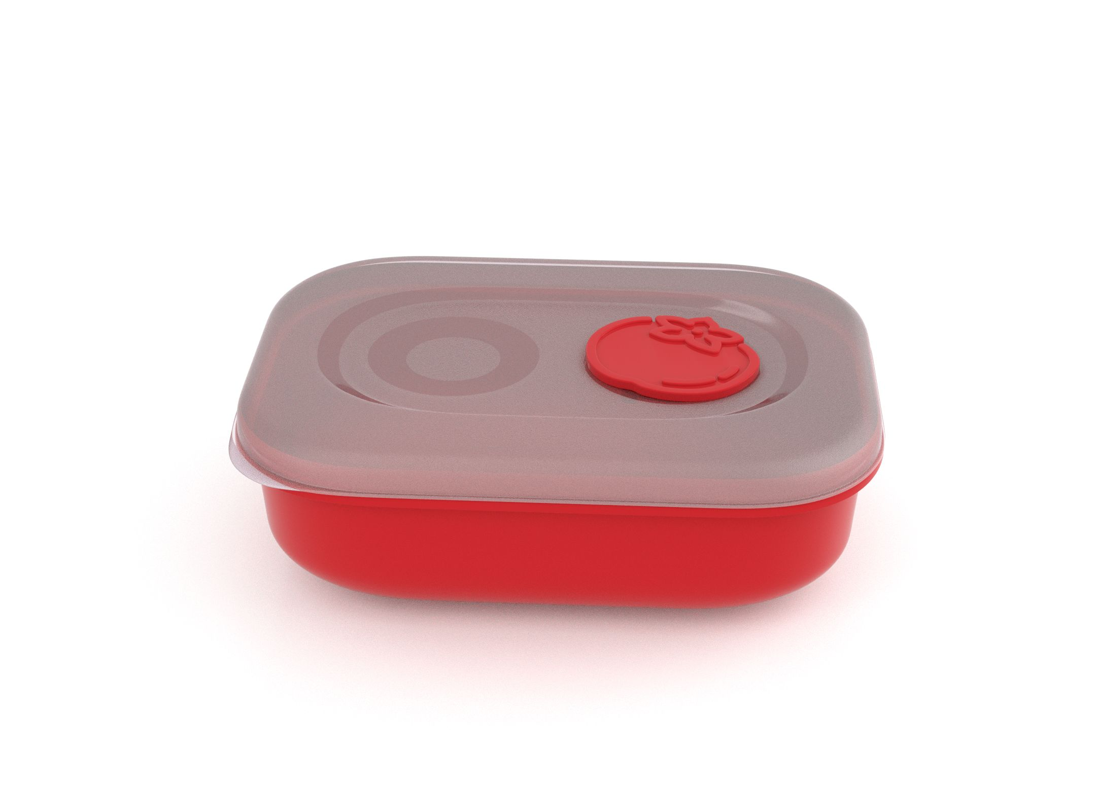 Tama Lock Rectangular Food Container 900ml 9902 with Steam Release Tomato Valve Bright Red