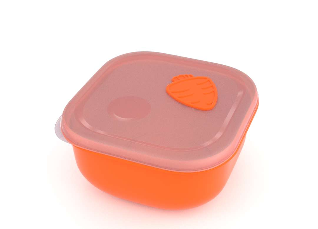 Tama Lock Square Food Container 1.3L 9131 with Steam Release Carrot Valve Orange