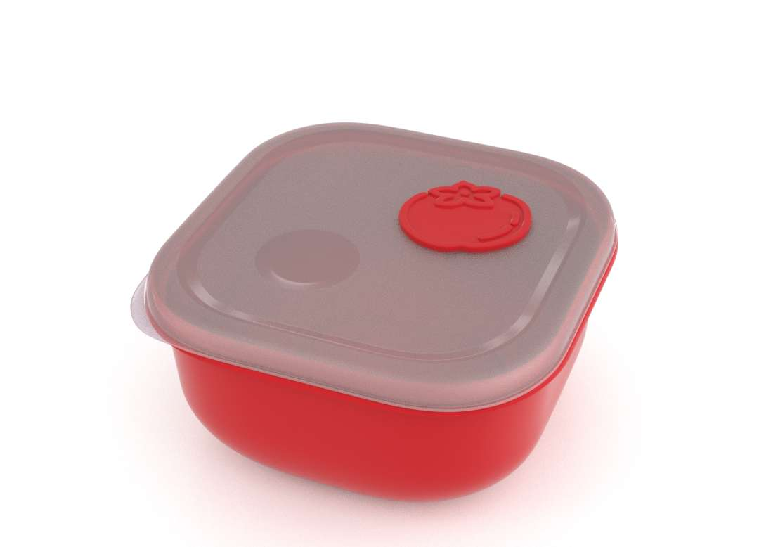 Tama Lock Square Food Container 1.3L 9132 with Steam Release Tomato Valve Bright Red