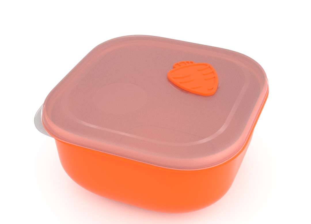 Tama Lock Square Food Container 2.4L 9241 with Steam Release Carrot Valve Orange