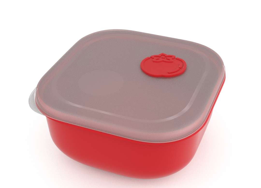 Tama Lock Square Food Container 2.4L 9242 with Steam Release Tomato Valve Bright Red