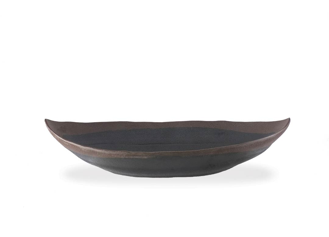 Stone Buffet Black oval bowl 25.5x14.3x5.7cm 1047 with brown rim