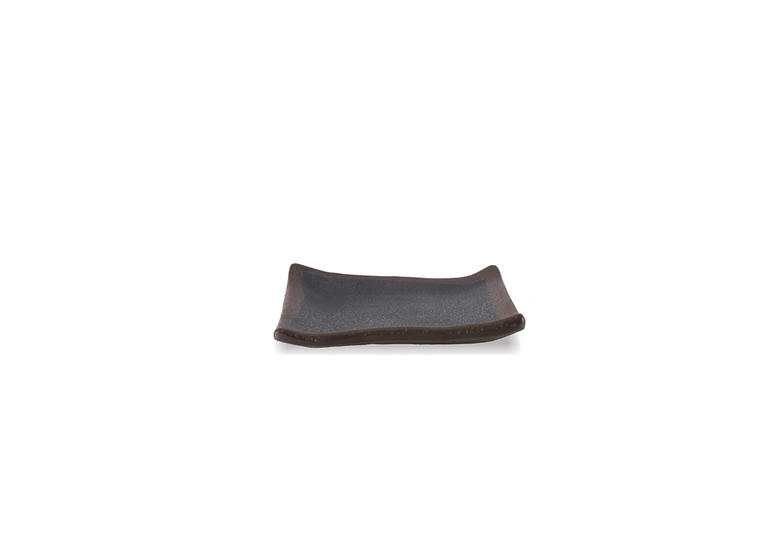 Stone Buffet Square black plate 10x10x1.4cm 1042 with brown rim