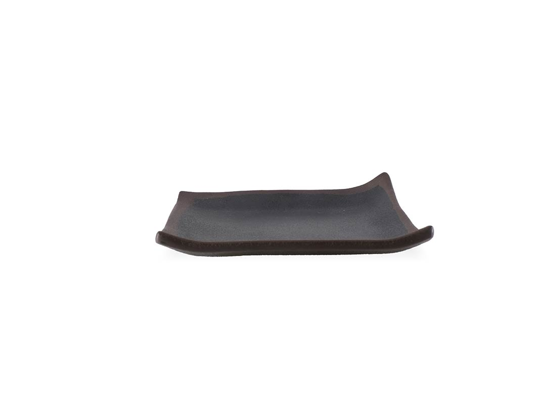Stone Buffet Square black plate 14.5x14.5x2.8cm 1045 with brown rim